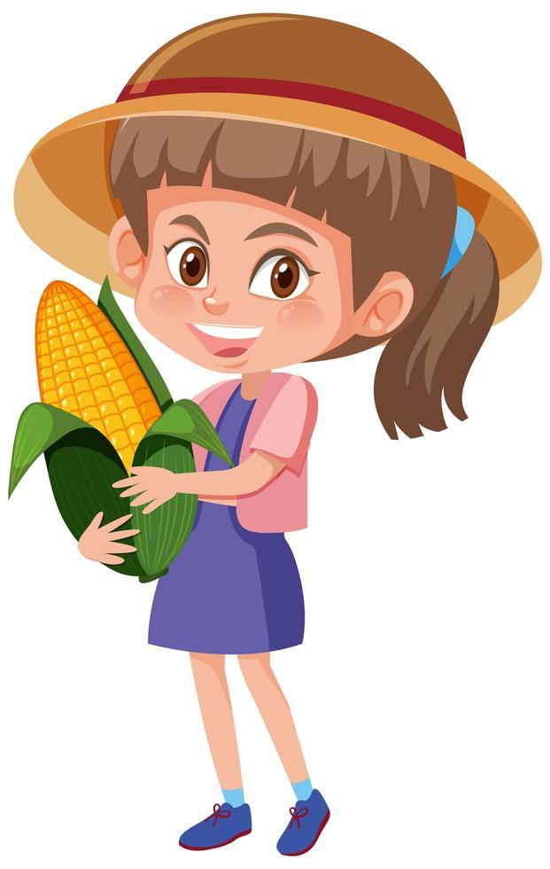 Kinderkarikaturfigur, die Obst oder Gemüse lokalisiert auf weißem Hintergrund hält vektor