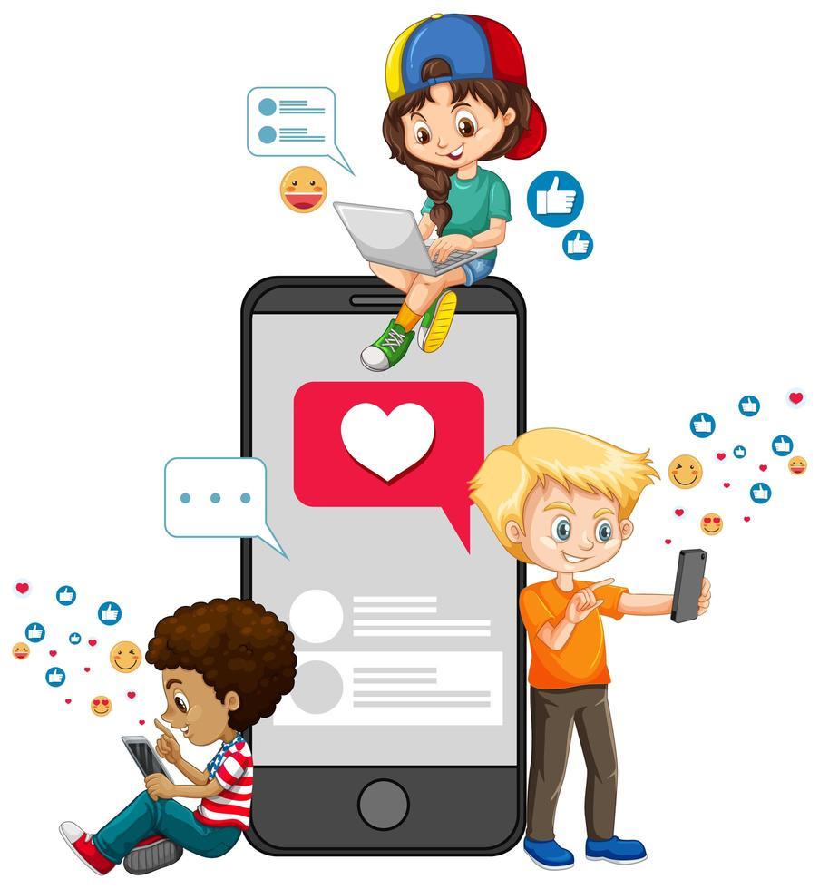 Kinder mit Social-Media-Elementen auf weißem Hintergrund vektor