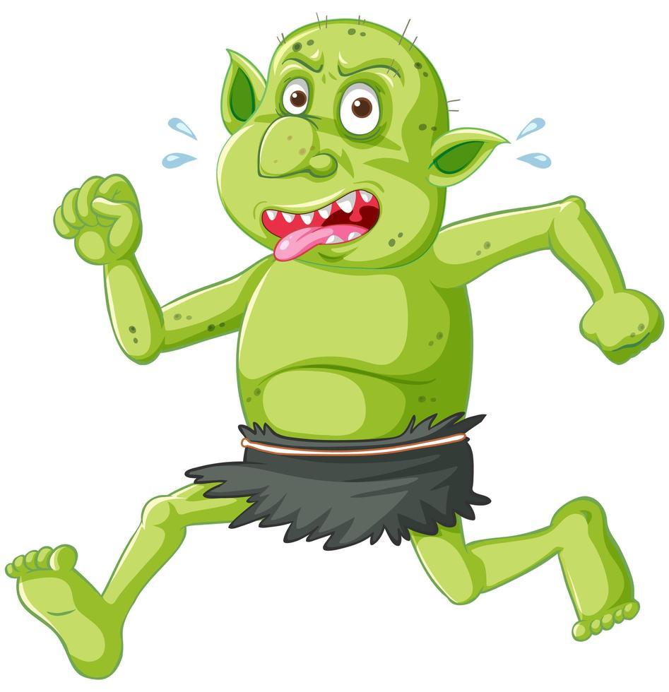 grüne Kobold- oder Trolllaufhaltung mit lustigem Gesicht in der Zeichentrickfigur isoliert vektor