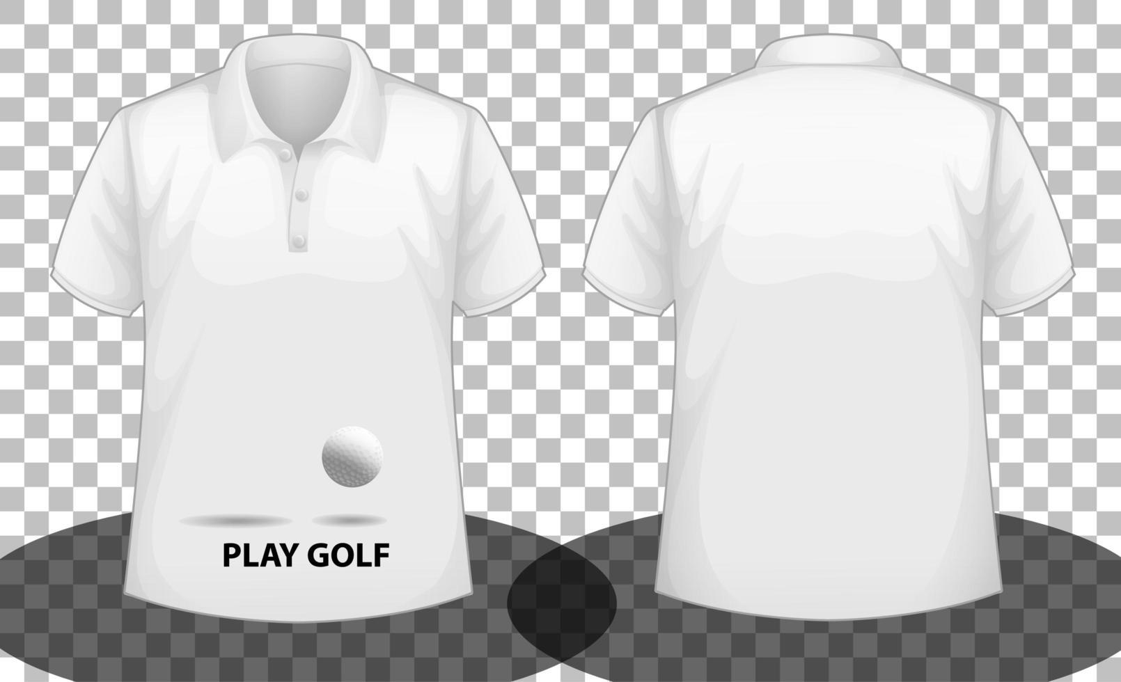 vit kortärmad polotröja med play golf-logotyp fram och bak vektor