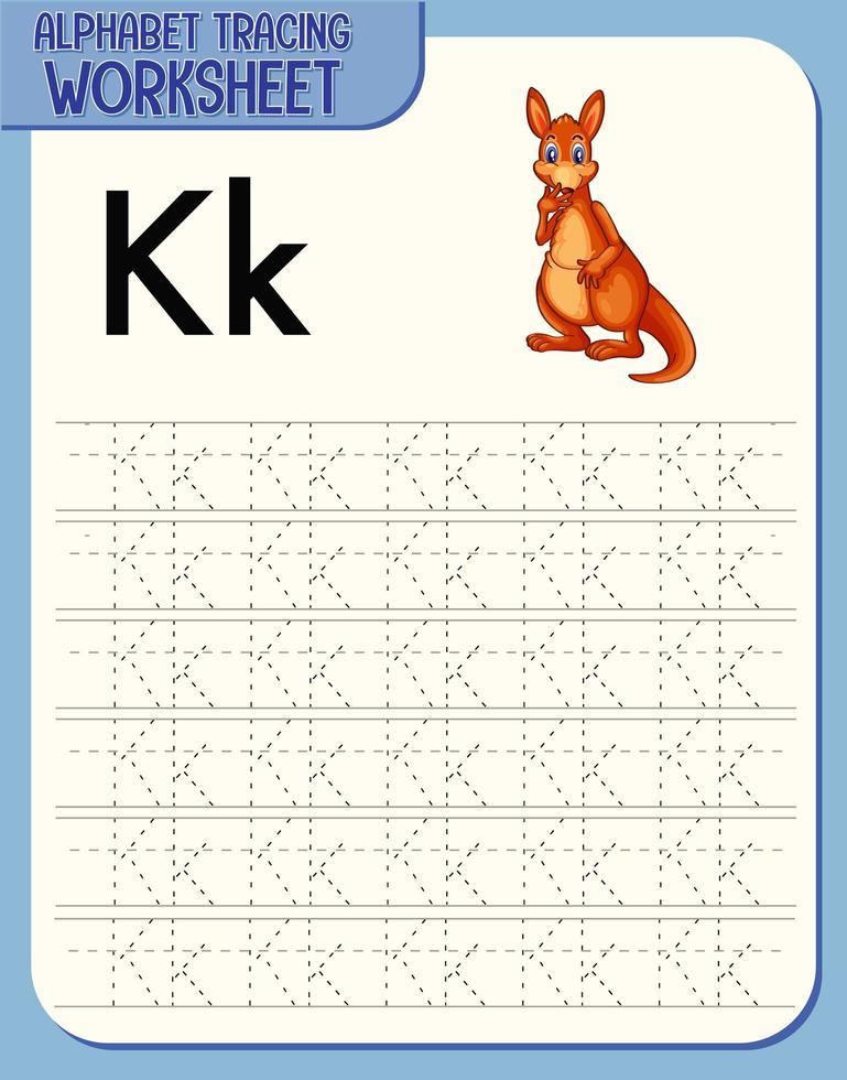 alfabetet spåra kalkylblad med bokstaven k och k vektor