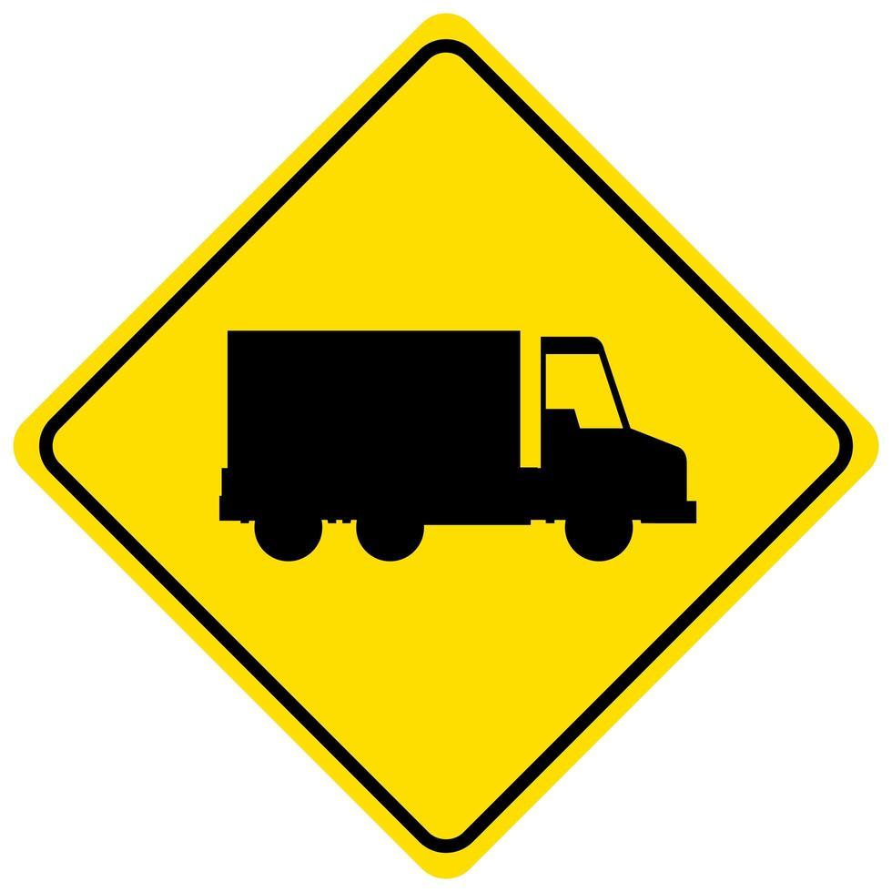 gul lastbil tecken isolerad på vit bakgrund vektor