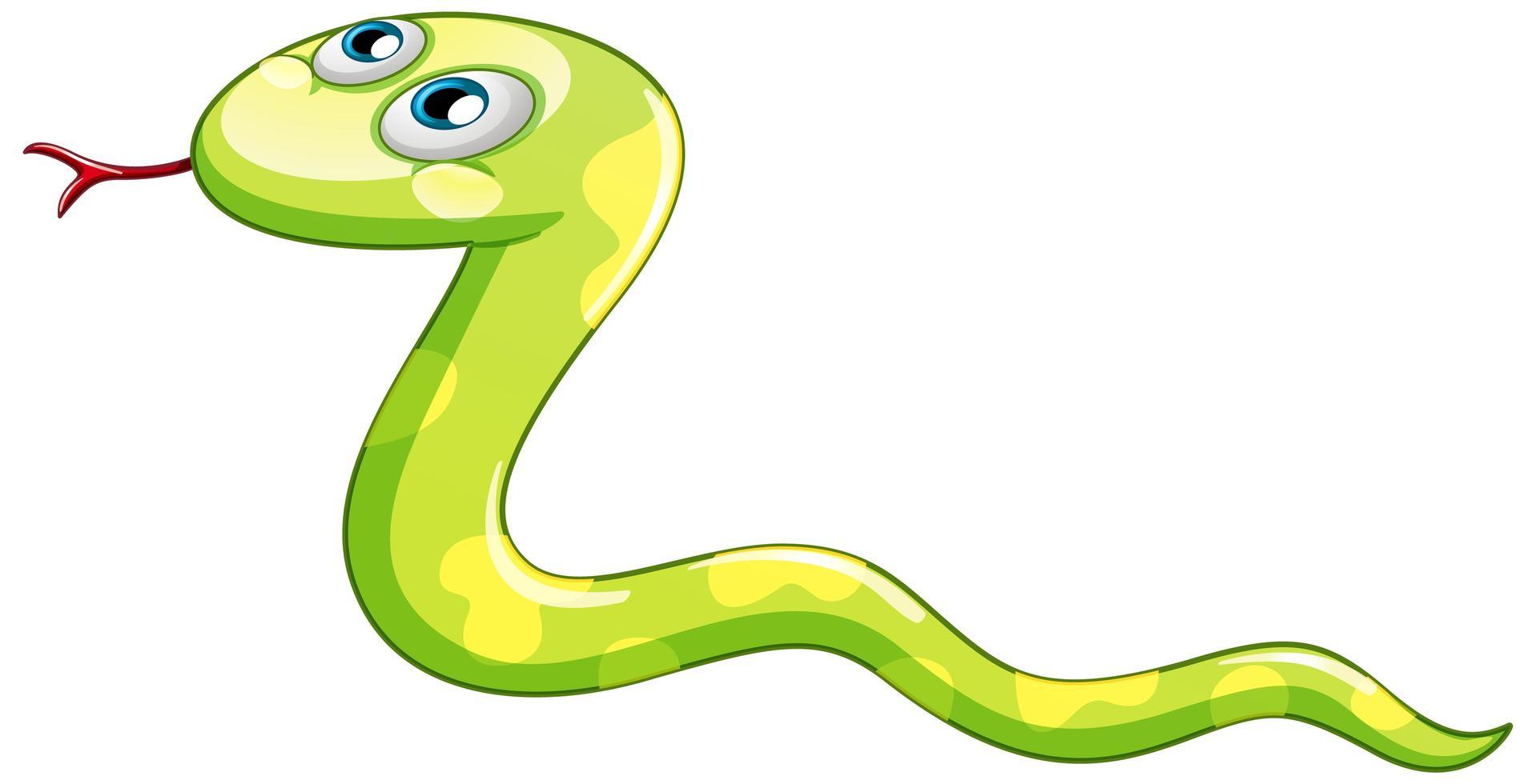en tecknad karaktär av en grön orm på vit bakgrund vektor