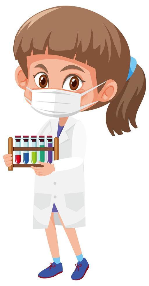 flicka i vetenskapsdräkt som innehar vetenskapliga objekt isolerad på vit bakgrund vektor