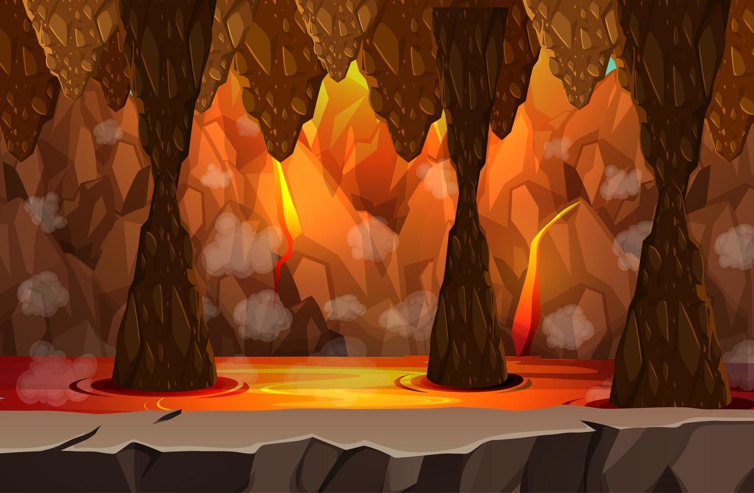 höllische dunkle Höhle mit Lavaszene vektor