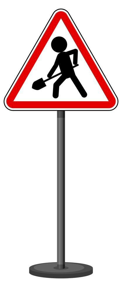 Mann bei der Arbeit Zeichen mit Stand isoliert auf weißem Hintergrund vektor
