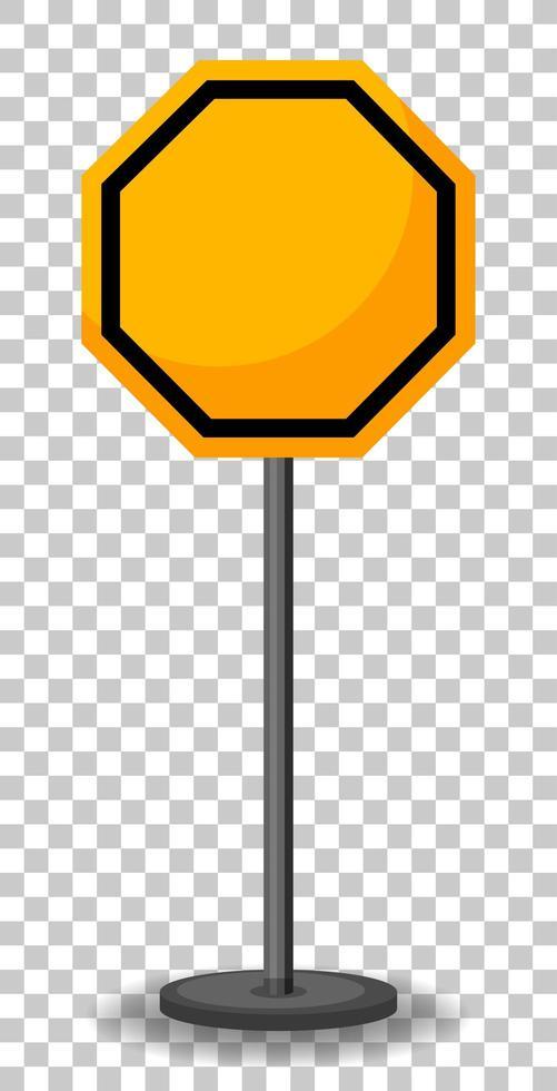leeres gelbes Verkehrszeichen auf transparentem Hintergrund vektor