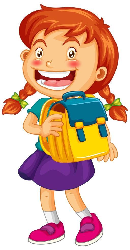 glückliches Mädchen, das Schultasche hält vektor