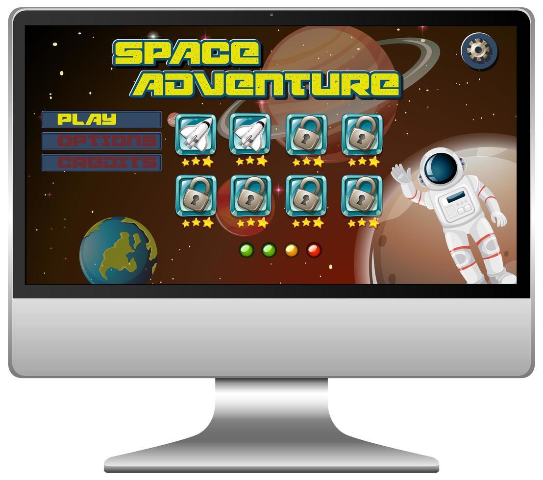 rymdäventyrsuppdragsspel på datorskärmen vektor