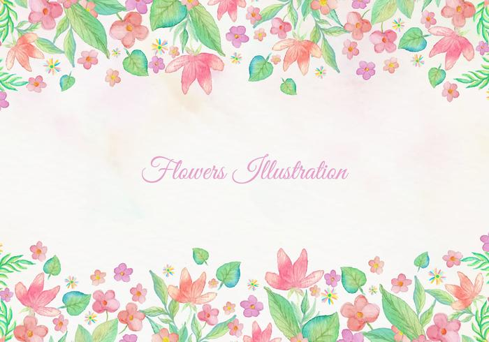 Gratis Vektor Kort Med Akvarell Floral Frame Design