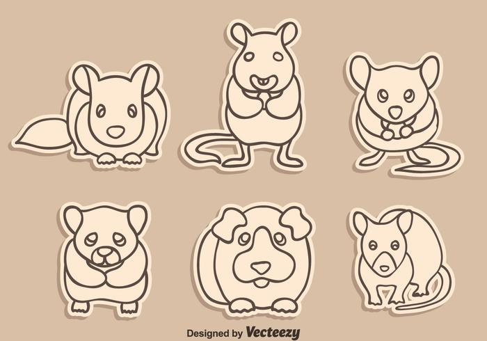 Skizze Gerbil, Maus Und Hamster Vektor
