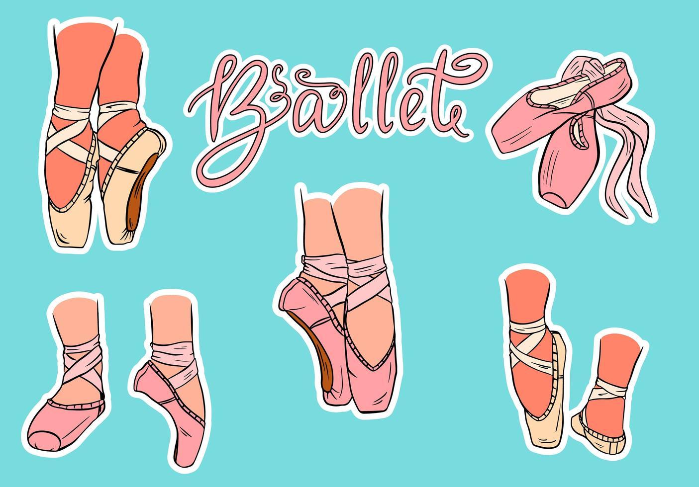 uppsättning handritade balettskor vektor