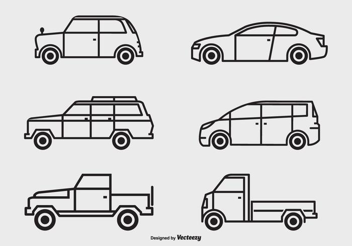Schwarze Umrisse Vektor Autos