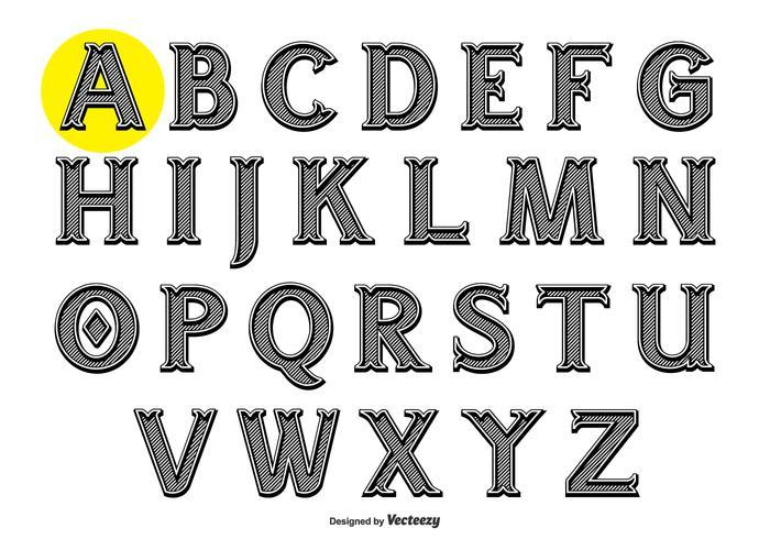 Alphabet in der Weinlese-Gravur-Art vektor