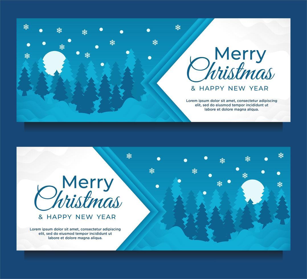 Weihnachts- und Neujahrsbanner mit Winterlandschaft vektor