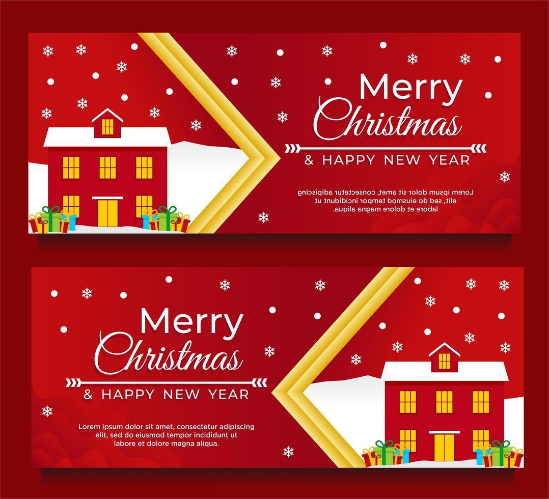 jul och nyår banner mall med hus vektor