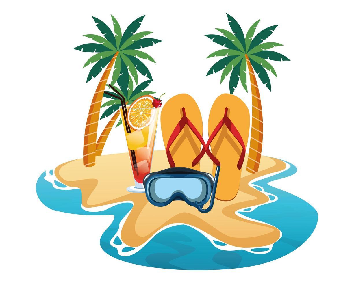 Sommer-, Strand- und Urlaubskomposition vektor