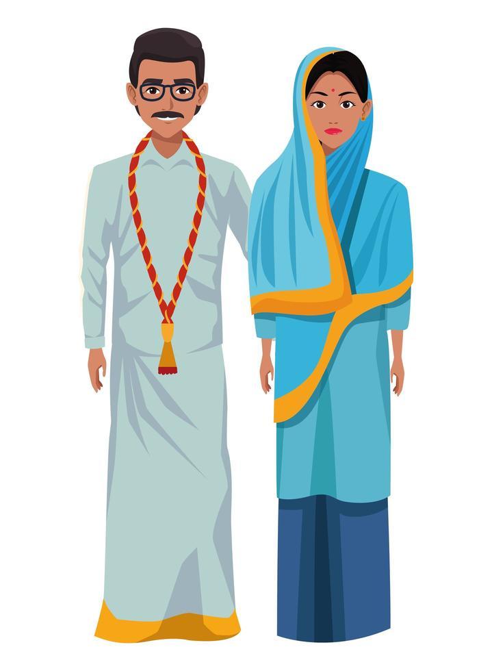 indische Paar Zeichentrickfiguren vektor