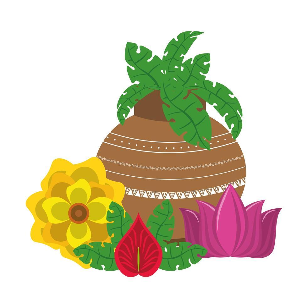 indiska lotusblommor i porslinskrukor vektor