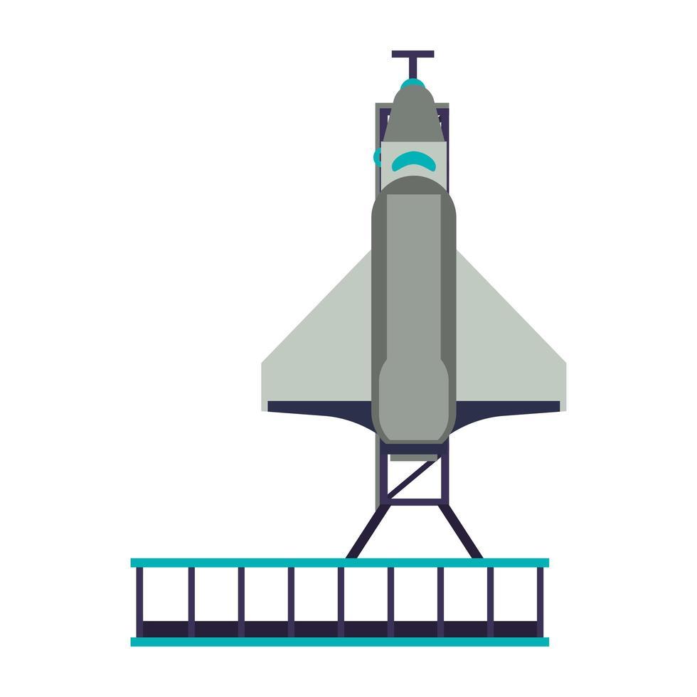 Raumschiff auf einer Startplattform vektor