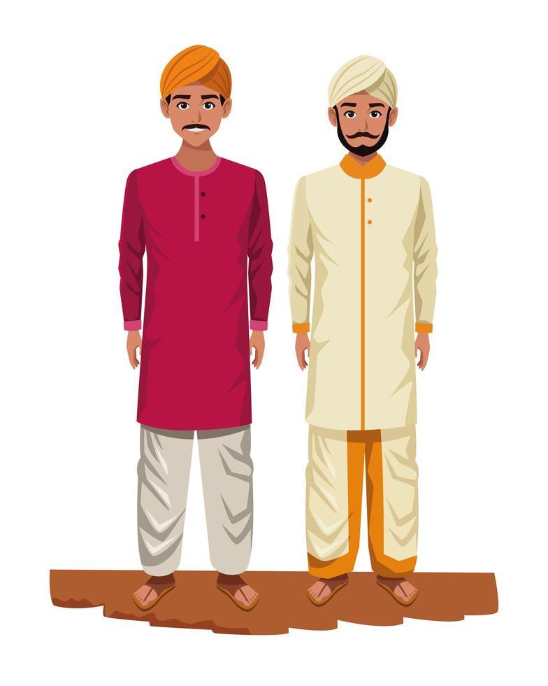 indiska män seriefigurer vektor