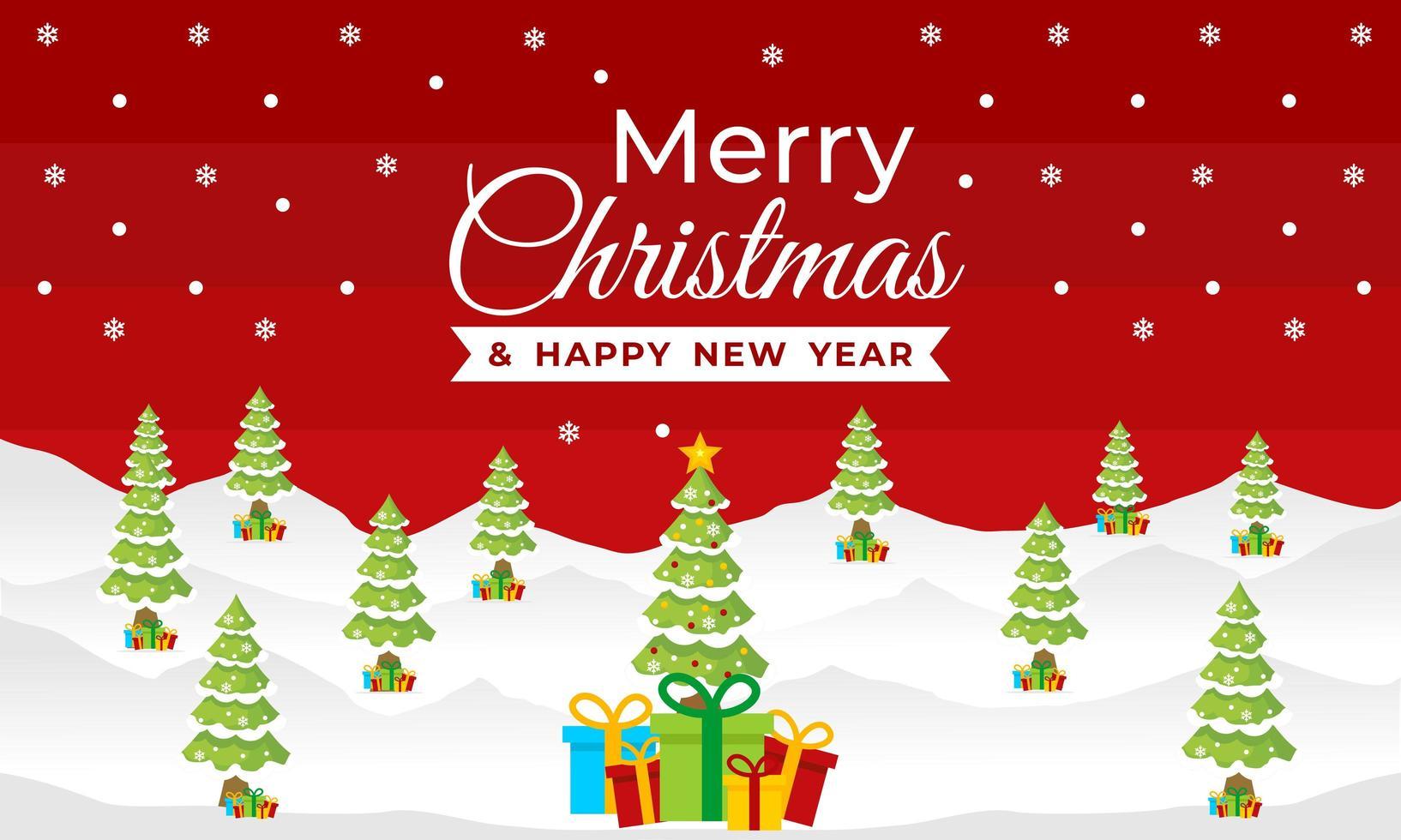 Weihnachts- und Neujahrsbanner mit Winterszene vektor