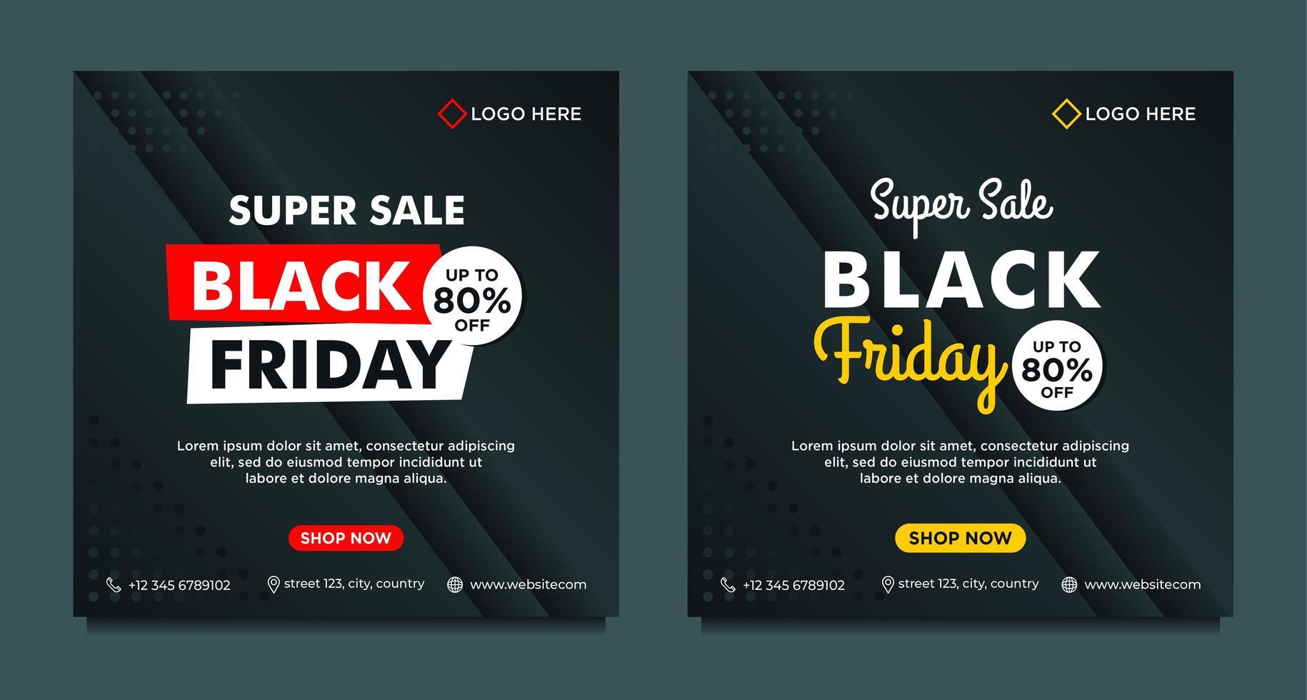 svart, gul, röd svart fredag försäljning sociala medier mallar vektor