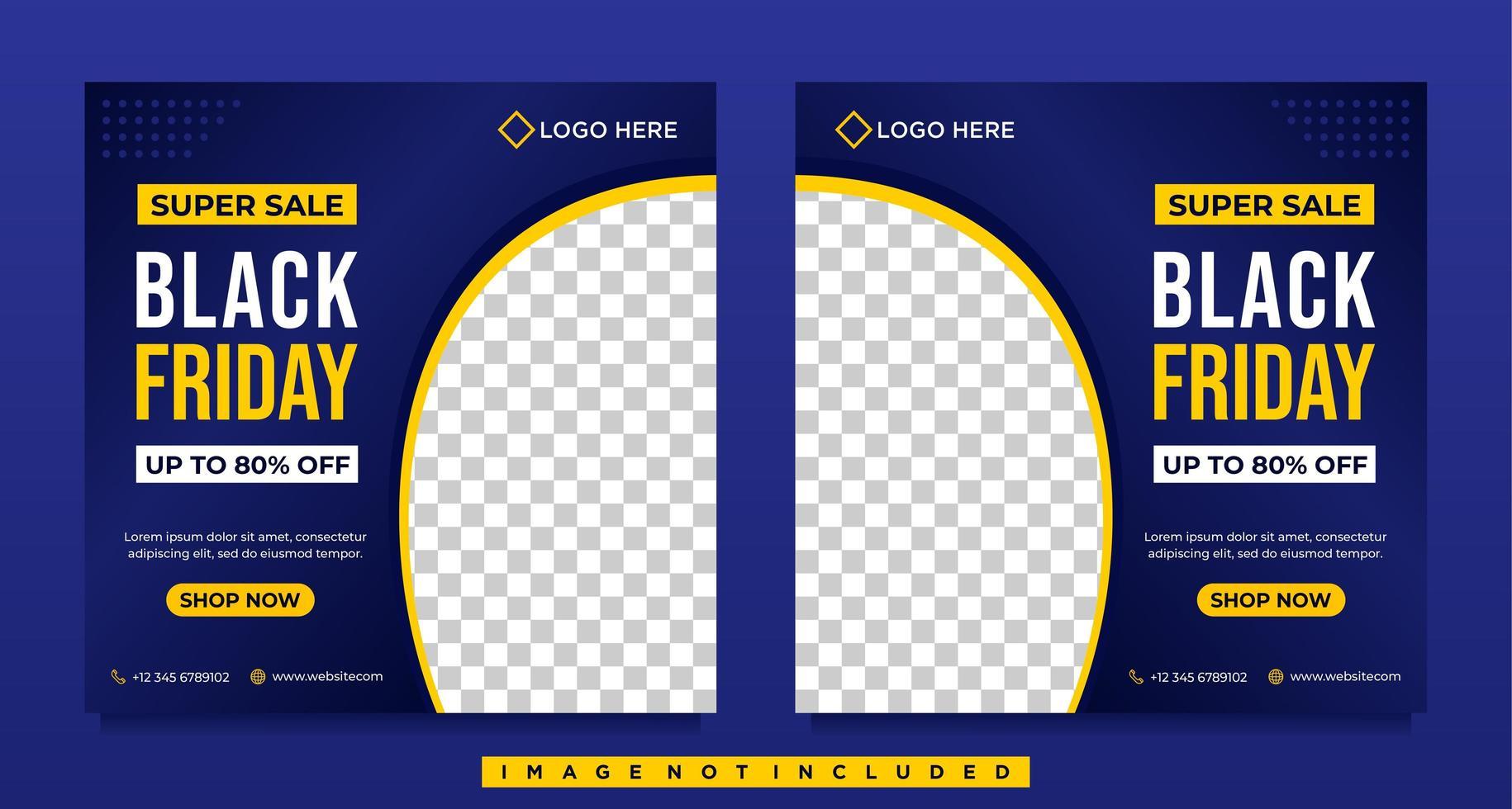 blaue Farbverlauf schwarz Freitag Verkauf Social Media Banner Vorlagen vektor