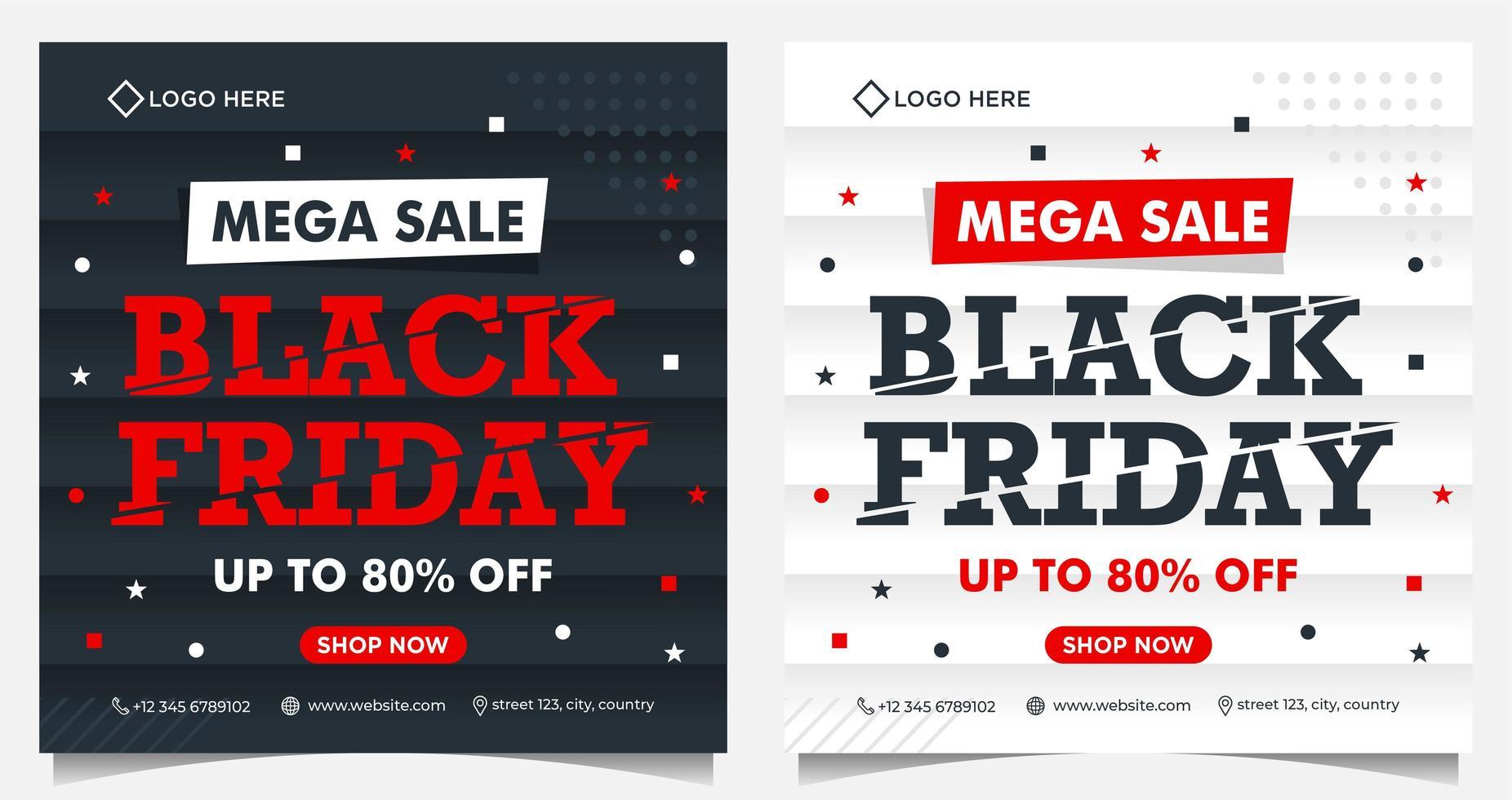 svart fredag fyrkantiga evenemangsbanderoller i svart, vitt och rött vektor