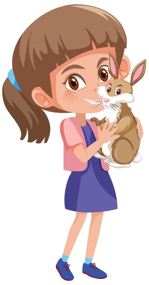 flicka som håller söt kanin vektor