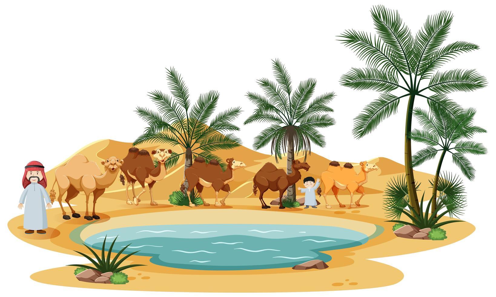 Oase in der Wüste mit Kamel- und Naturelementen vektor