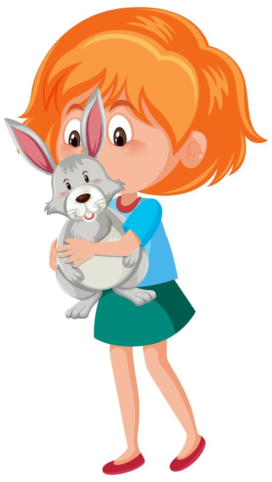 Mädchen hält süßes Kaninchen vektor