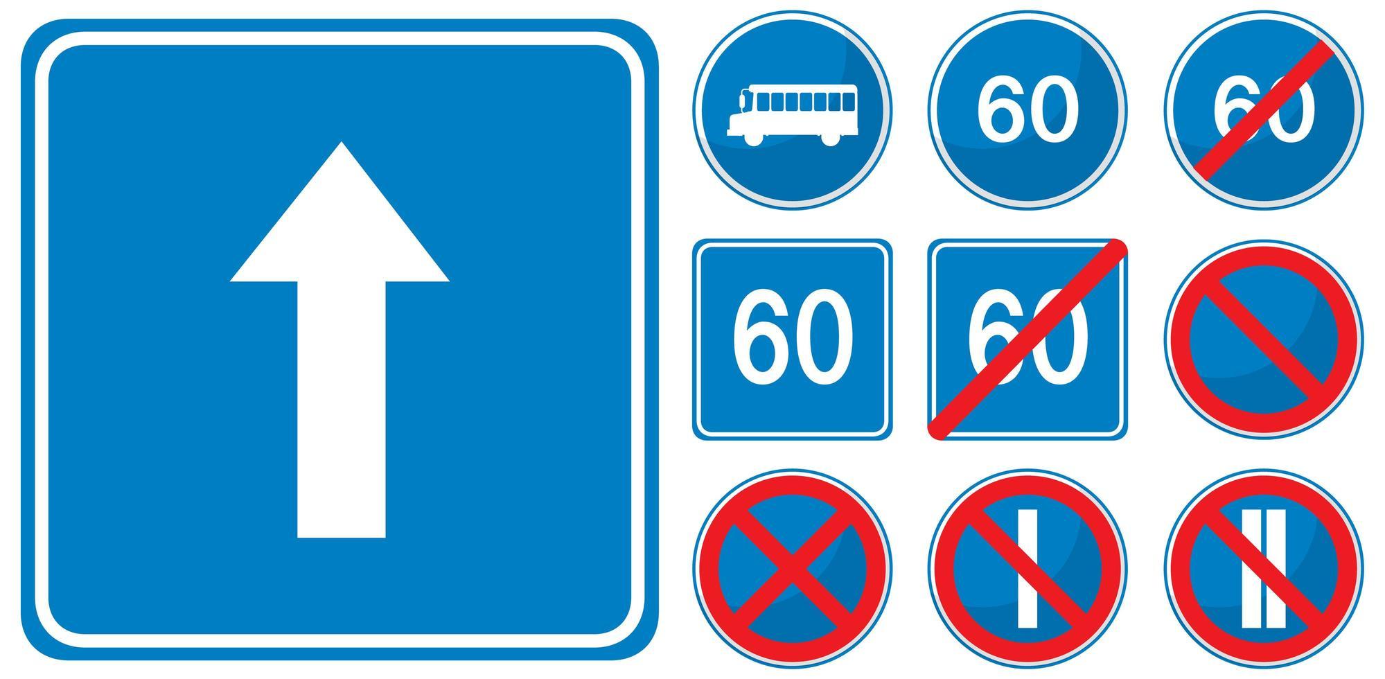 Satz blaue Verkehrszeichen lokalisiert auf weißem Hintergrund vektor
