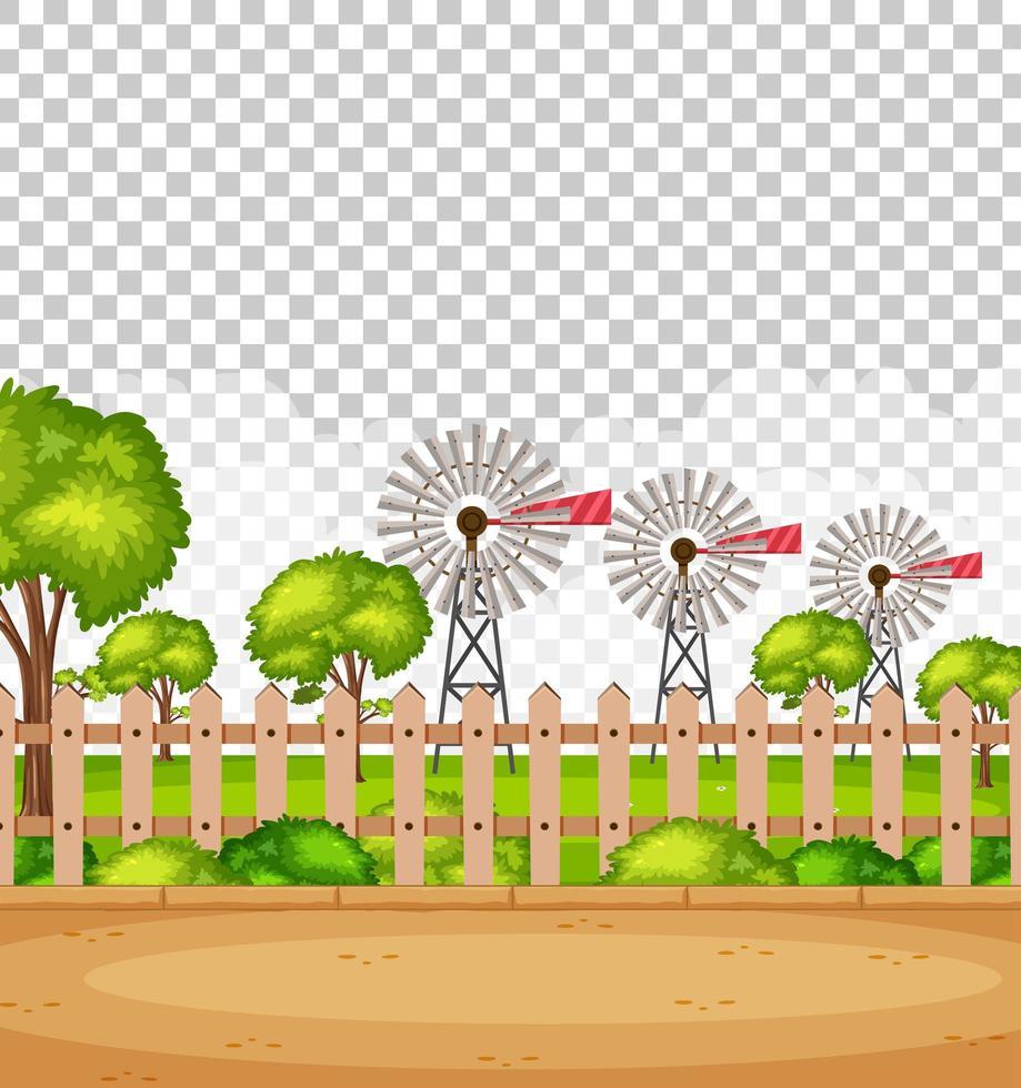 leere Naturpark-Szenenlandschaft mit Windmühlen vektor