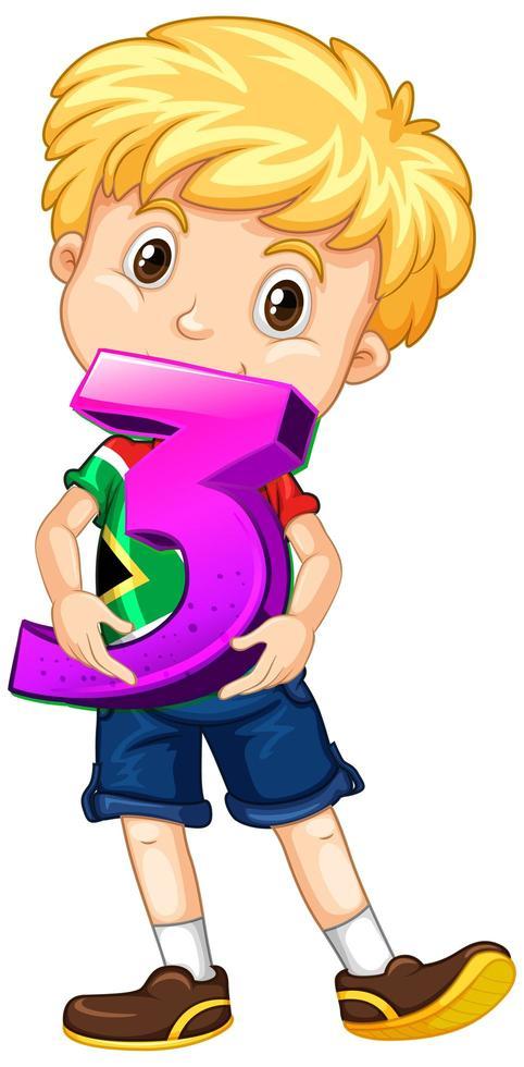 blond pojke som håller matte nummer tre vektor