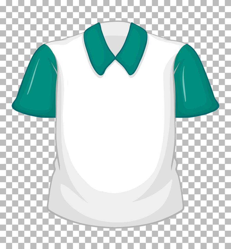 leeres weißes Hemd mit grünen kurzen Ärmeln vektor