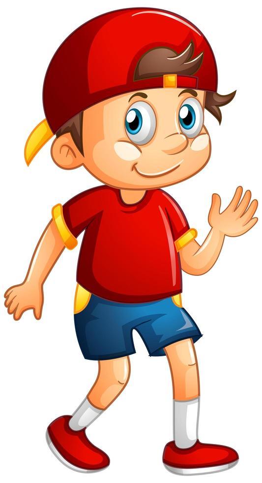 ein Junge, der rote Kappe auf weißem Hintergrund trägt vektor