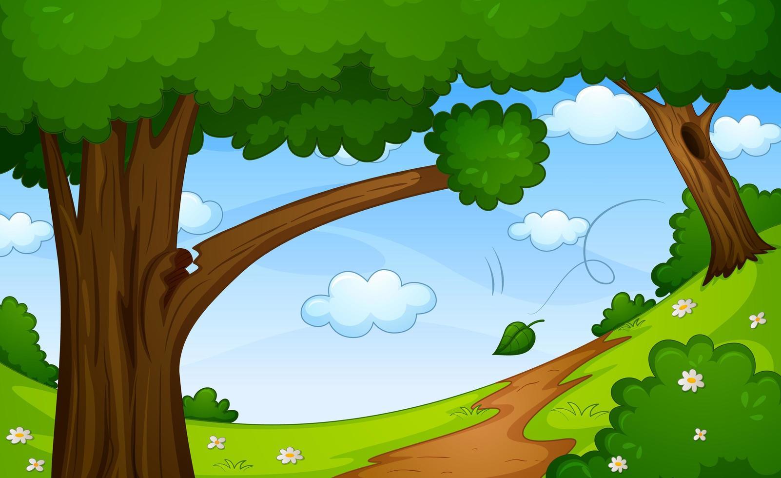 leerer Waldnaturszenenhintergrund vektor
