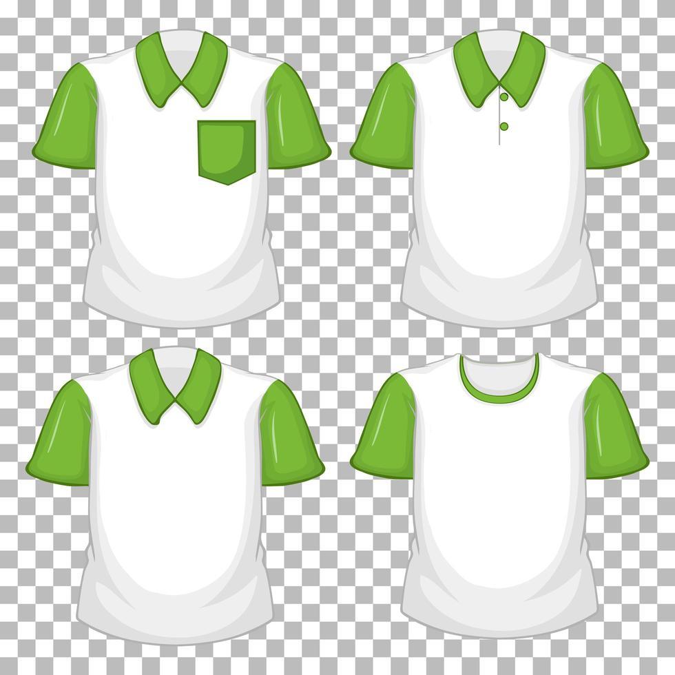 Set verschiedene Shirts mit grünen Ärmeln vektor