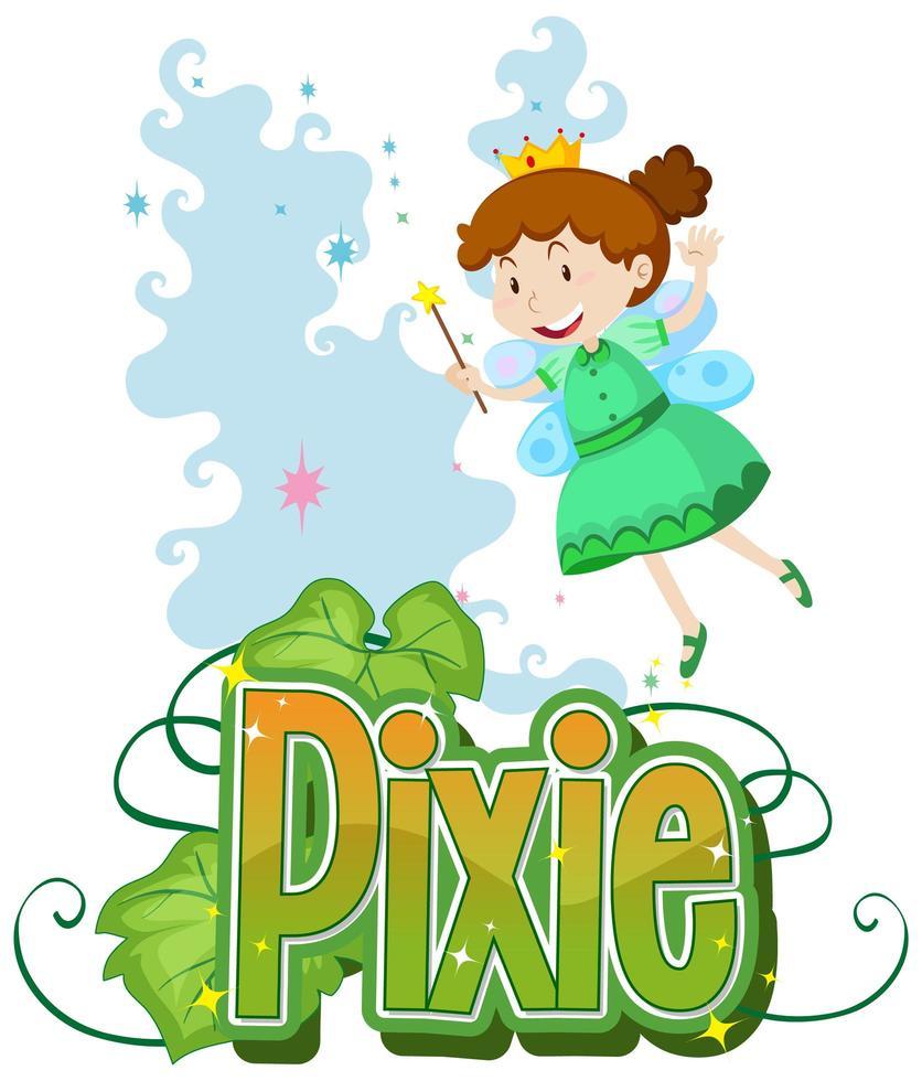 Pixie Text mit kleiner Fee vektor