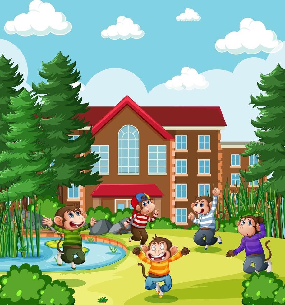 fünf kleine Affen springen in die Parkspielplatzszene vektor