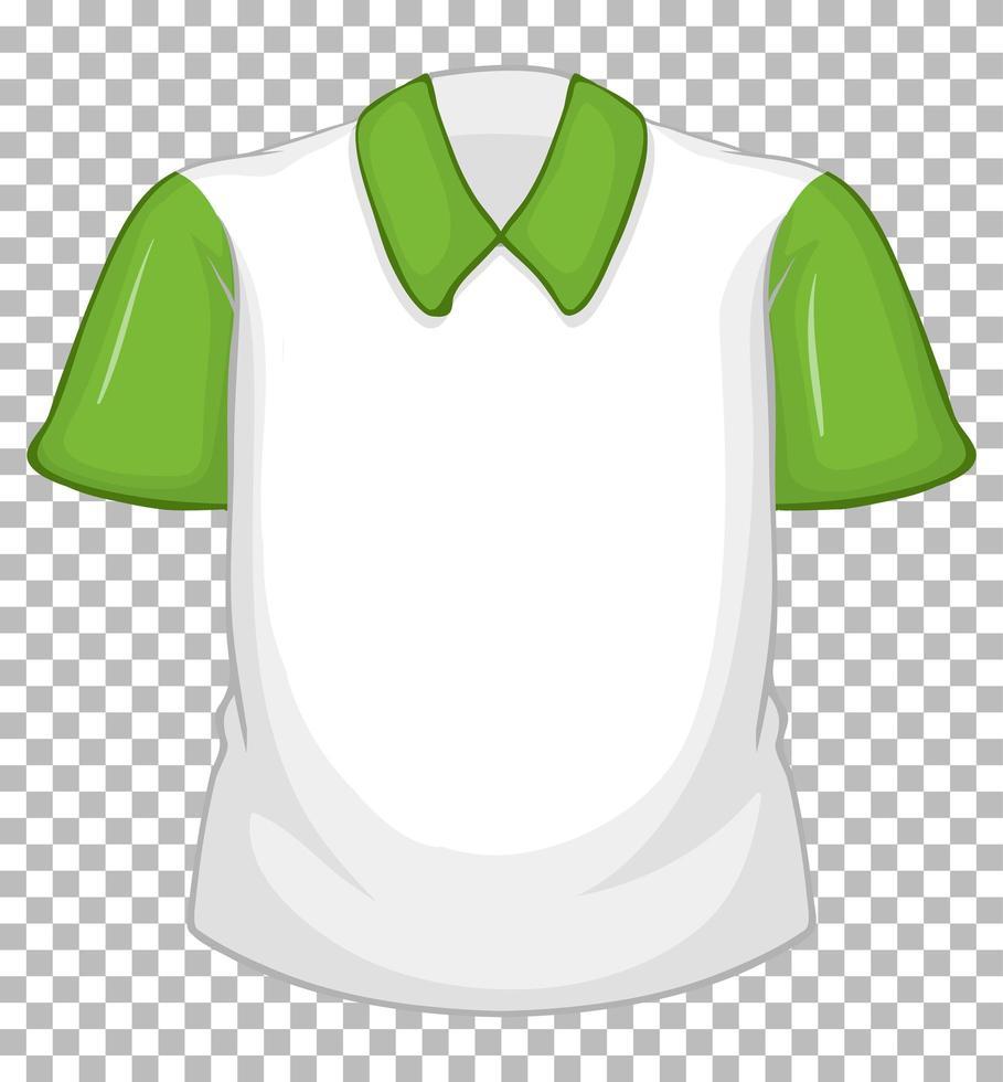 tom vit skjorta med gröna korta ärmar vektor