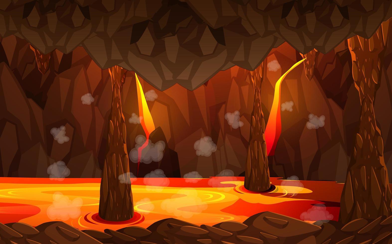 infernal mörk grotta med lavascen vektor