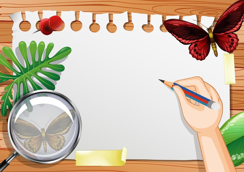 leeres Papier auf Tischoberansicht mit Naturelementen vektor