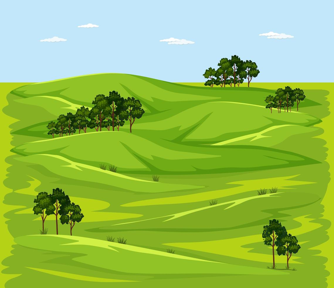 leere grüne Wiese Naturlandschaftsszene vektor