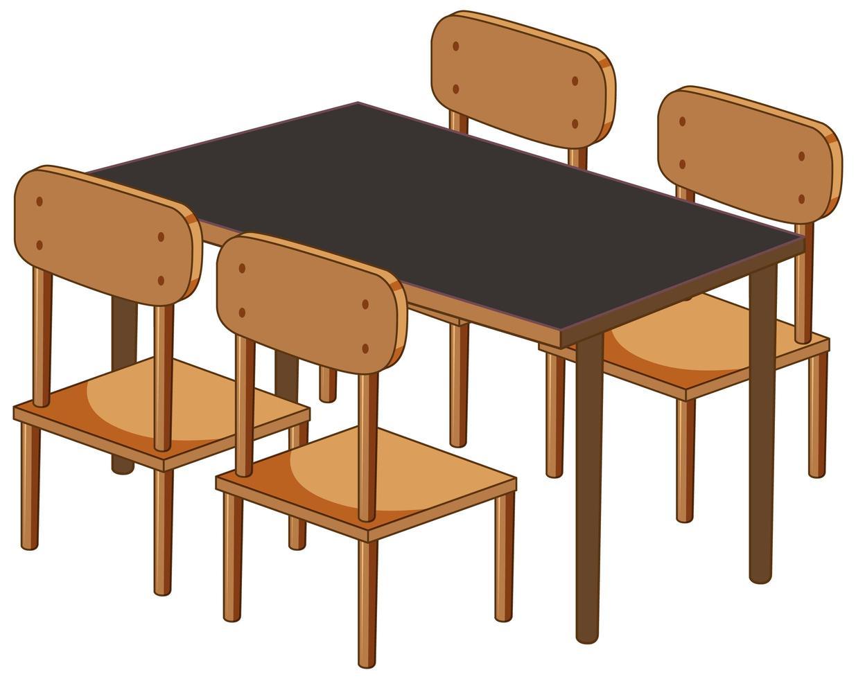ein Schreibtisch mit vier Stühlen lokalisiert auf weißem Hintergrund vektor