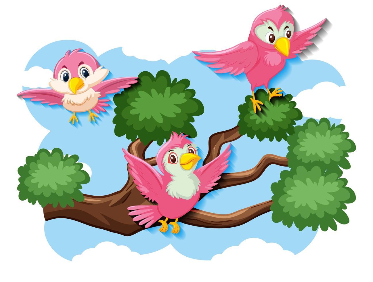 glada fåglar som flyger i naturen vektor
