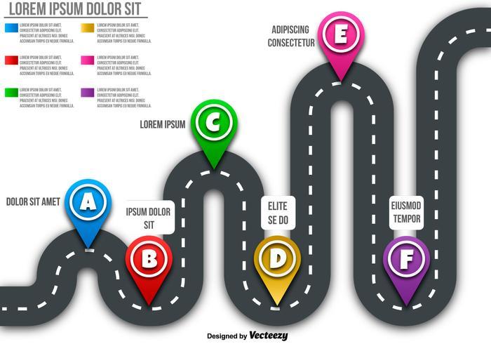 Vector Roadmap Mit Markern