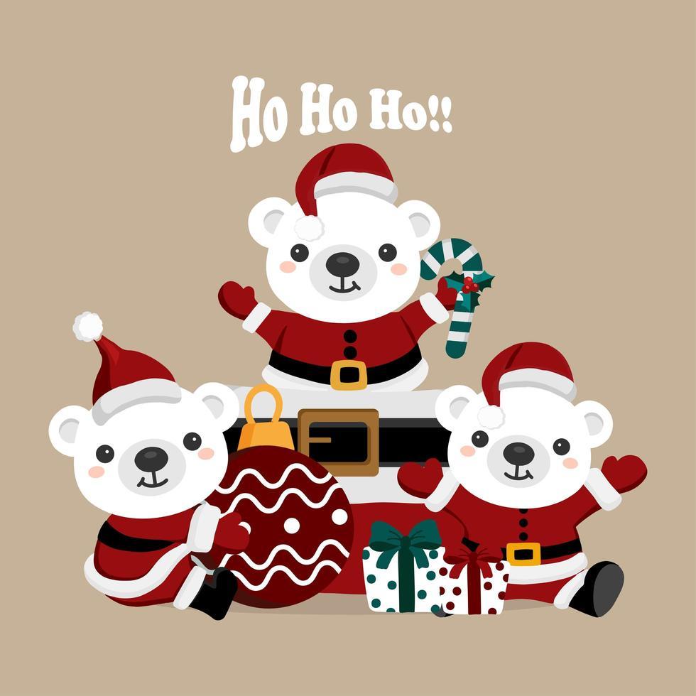 julbjörnar i jultomtenkläder vektor