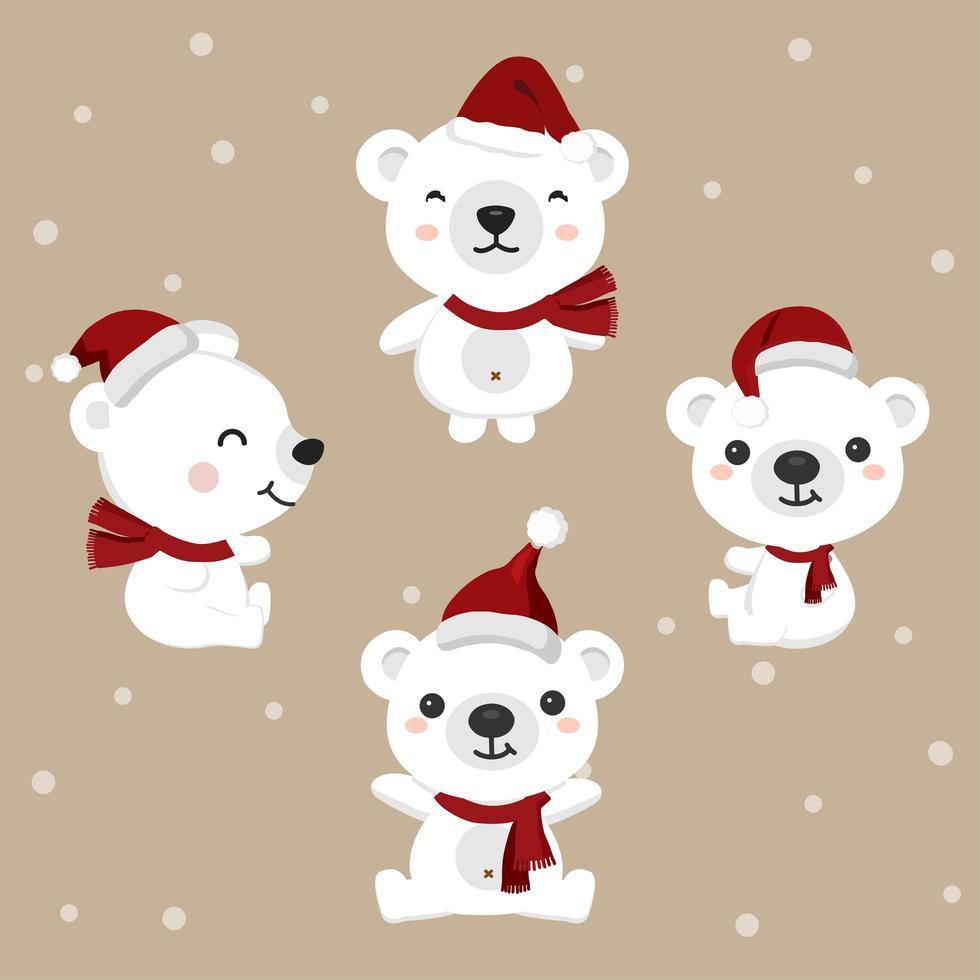 Satz Bären mit Weihnachtsmütze zu Weihnachten vektor